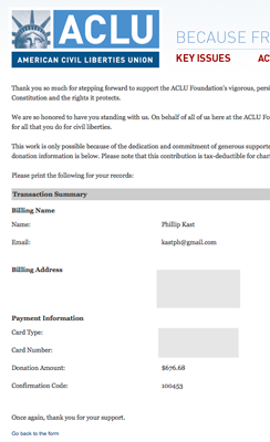 ACLU donation confirmation