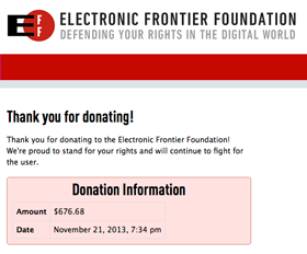 EFF donation confirmation